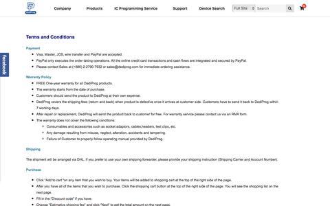 Screenshot of Terms Page dediprog.com - Terms and Conditions | Dediprog Technology Co., Ltd - captured Aug. 6, 2018