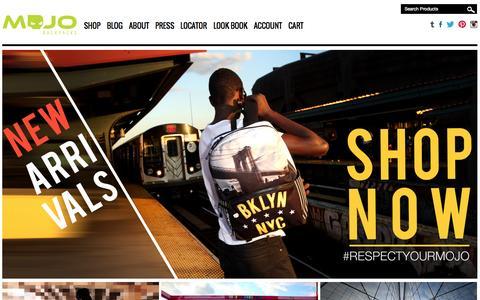 Screenshot of Home Page mojobackpacks.com - MOJO | Official Mojo Web Store | Backpacks, Rucksacks, Messenger Bags - captured Jan. 28, 2015