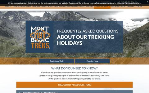 Screenshot of FAQ Page montblanctreks.com - Mont Blanc Treks | frequently asked questions - captured Oct. 20, 2018