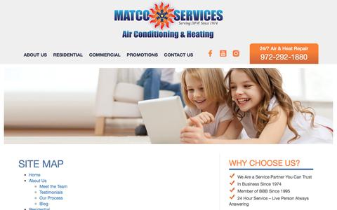 Screenshot of Site Map Page matcoservices.com - Site Map | Matco Services - captured Feb. 14, 2018