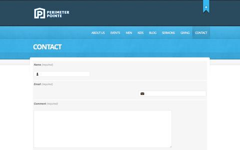Screenshot of Contact Page perimeterpointe.org - Contact     Perimeter Pointe   Pointing people to a growing relationship with Jesus Christ - captured Oct. 2, 2014