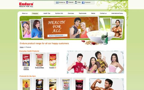 Screenshot of Products Page endurasupplements.com - Endura Mass - weight gainer, optimum weight gainer, balanced nutrition food supplement, a dietary supplement, healthy food supplement, a healthy weight gainer in India. - captured Oct. 31, 2014