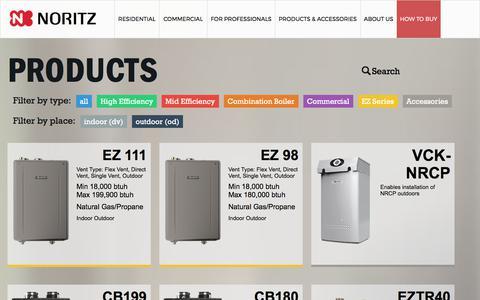 Screenshot of Products Page noritz.com - Noritz America says… - captured June 24, 2017
