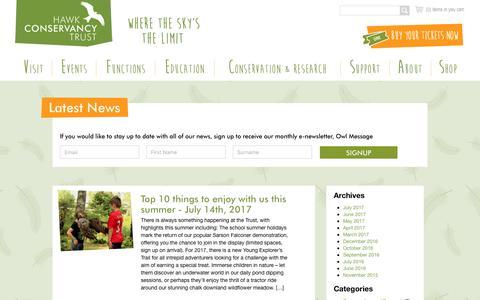 Screenshot of Press Page hawk-conservancy.org - Hawk Conservancy Trust - - captured July 22, 2017