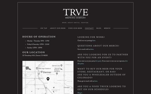 Screenshot of Contact Page trvebrewing.com - Contact — TRVE Brewing Co. - Denver's True Heavy Metal Brewery - captured Oct. 20, 2018