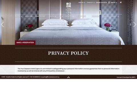 Screenshot of Privacy Page fourseasons.com.cy - Four Seasons Limassol Cyprus - Privacy policy - captured Oct. 14, 2017
