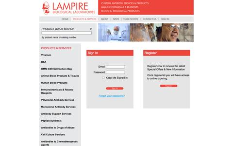 Screenshot of Login Page lampire.com - Lampire Biological Products: Sign In - captured Oct. 1, 2014