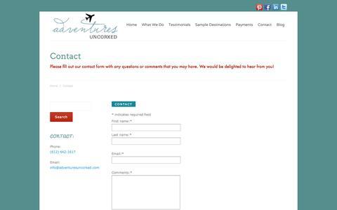 Screenshot of Contact Page adventuresuncorked.com - Contact Adventures Uncorked - captured Sept. 30, 2014
