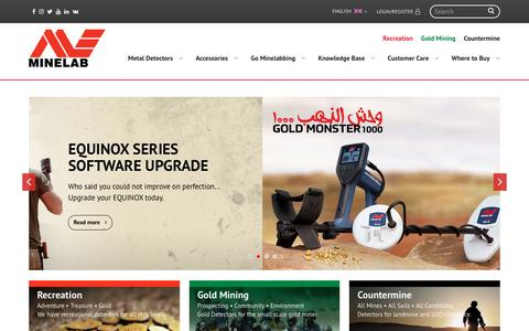 Screenshot of Home Page minelab.com - Minelab Metal Detectors | Consumer | Gold Mining | Countermine - captured Sept. 22, 2018