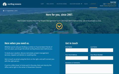Screenshot of Contact Page surfingnosara.com - Contact Us | Surfing Nosara - captured Sept. 21, 2018