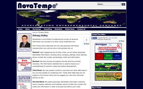 Screenshot of Privacy Page novatempo.com - NovaTempo ®   » Privacy Policy - captured Sept. 30, 2014