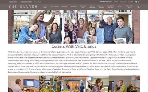 Screenshot of Jobs Page vhcbrands.com - VHC Brands Careers - captured Sept. 20, 2018