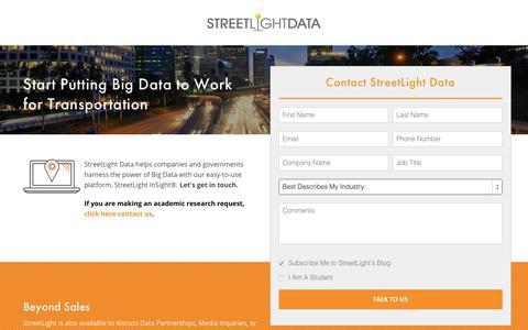 Screenshot of Contact Page streetlightdata.com - Contact Transportation Data Experts | StreetLight Data - captured April 22, 2018