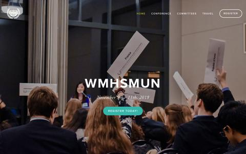 Screenshot of Home Page wmhsmun.org - WMHSMUN - captured Nov. 15, 2018