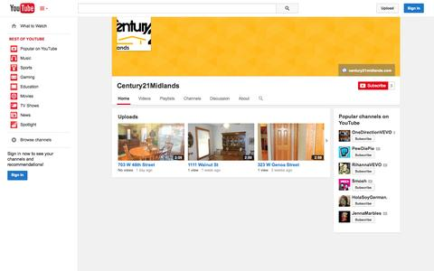 Screenshot of YouTube Page youtube.com - Century21Midlands  - YouTube - captured Oct. 22, 2014