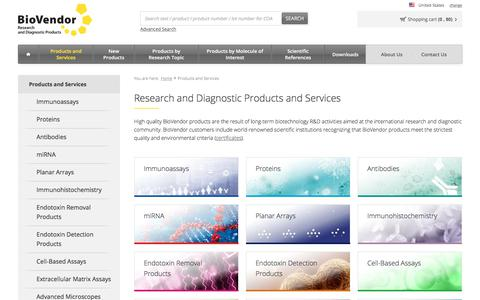 Screenshot of Products Page biovendor.com - Products and Services | BioVendor - captured Oct. 10, 2017