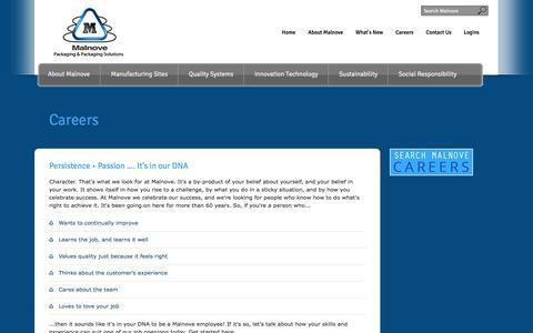 Screenshot of Jobs Page malnove.com - Careers - captured Oct. 4, 2014