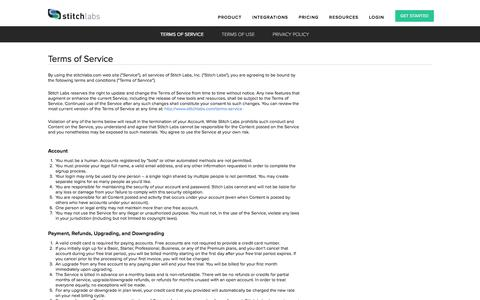 Screenshot of Terms Page stitchlabs.com - Terms of Service | Stitch Labs - captured Jan. 13, 2016