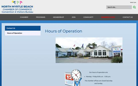 Screenshot of Hours Page northmyrtlebeachchamber.com - North Myrtle Beach Chamber of Commerce Convention and Visitors Bureau - Hours of Operation - captured Dec. 21, 2018