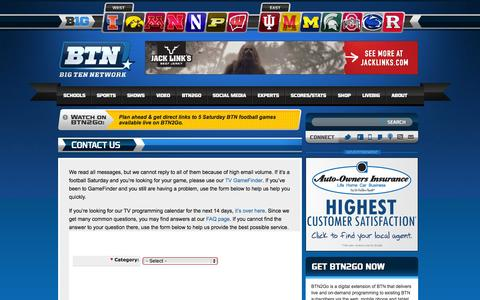 Screenshot of Contact Page btn.com - Contact Us «  Big Ten Network - captured Sept. 25, 2014