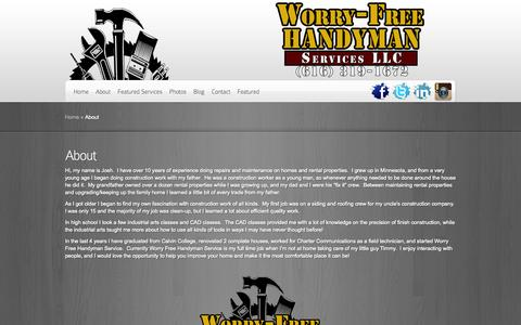 Screenshot of About Page thegrhandyman.com - About | Worry-Free Handyman - captured Oct. 6, 2014