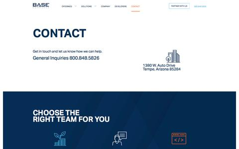 Screenshot of Contact Page basecommerce.com - Base Commerce – Leaders In Payment Processing - captured June 1, 2017