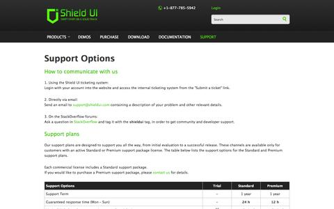 Screenshot of Support Page shieldui.com - Support Options | Shield UI - captured Sept. 25, 2014