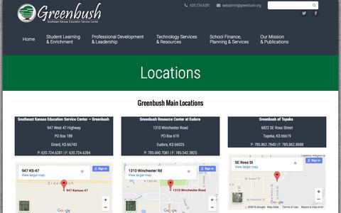 Screenshot of Locations Page greenbush.org - Locations – Greenbush - captured Oct. 26, 2016