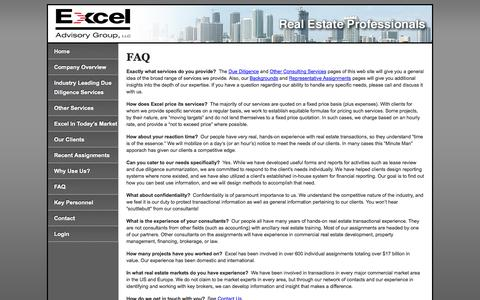 Screenshot of FAQ Page exceladvisory.com - FAQ | Excel Advisory - captured Oct. 3, 2014