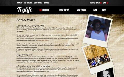 Screenshot of Privacy Page trylife.tv - Privacy Policy | TryLife - captured Nov. 5, 2014