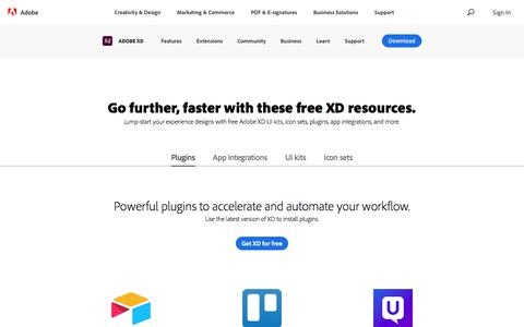 Screenshot of Pricing Page adobe.com - Free UI design kits, icons, and plugins | Adobe XD Resources - captured Jan. 21, 2020