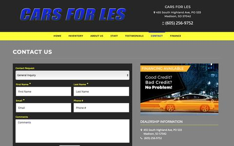 Screenshot of Contact Page carsforles.com - Contact Cars For Les Dealership Madison, SD 57042 - captured Oct. 31, 2018