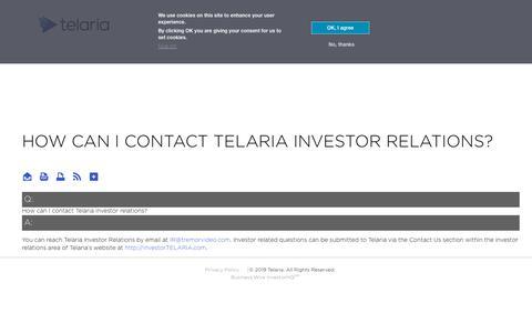 Screenshot of FAQ Page telaria.com - How can I contact Telaria investor relations? | Telaria Online Investor Center - captured Dec. 27, 2019