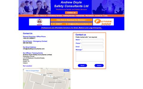 Screenshot of Contact Page adsafetyconsultants.com - Contact Andrew Doyle Safety Consultants Ltd. | General Enquiries | Bookings | Location - captured Oct. 4, 2014