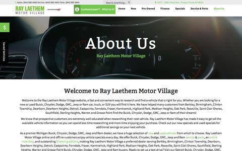 Screenshot of About Page raylaethem.com - New and Used Car Dealer in Grosse Pointe | Ray Laethem Motor Village - captured Oct. 30, 2017