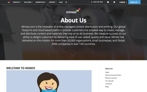 Screenshot of About Page mimeo.com - Learn About Us - Mimeo.com - captured Feb. 23, 2016