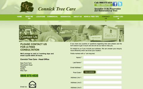Screenshot of Contact Page connicktreecare.co.uk - Contact Us To Make an Appointment | Connick Tree Care - captured July 20, 2018