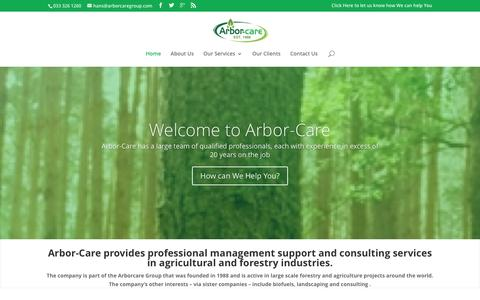 Screenshot of Home Page arbor-care.co.za - Welcome to Arbor-Care - captured Dec. 26, 2015