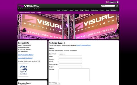 Screenshot of Contact Page visualproductions.nl - Contact: Visual Productions - Software Lighting Control - captured Oct. 26, 2014
