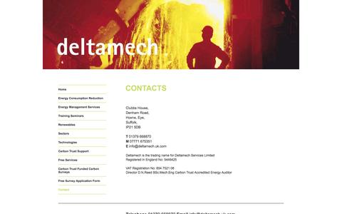Screenshot of Contact Page deltamech.uk.com - Energy management services - Deltamech - captured Oct. 5, 2014