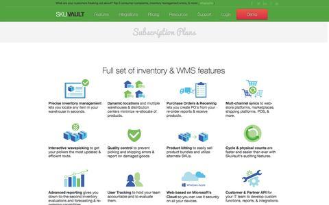 Screenshot of Pricing Page skuvault.com - SkuVault Warehouse Management System · Pricing - captured Feb. 27, 2016