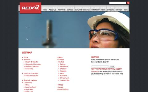 Screenshot of Site Map Page redox.com - Redox - Site Map - captured Oct. 26, 2014