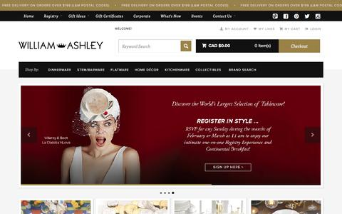 Screenshot of Home Page Site Map Page williamashley.com - Best Selection of Quality Tableware and Giftware in Canada | William Ashley China - captured Feb. 23, 2016