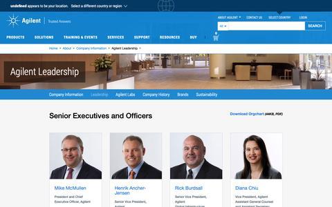 Screenshot of Team Page agilent.com - Agilent Leadership - captured Nov. 5, 2018