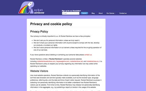 Screenshot of Privacy Page rocketrainbowstudios.com - Privacy and cookie policy - Rocket Rainbow Studios - captured Sept. 30, 2014
