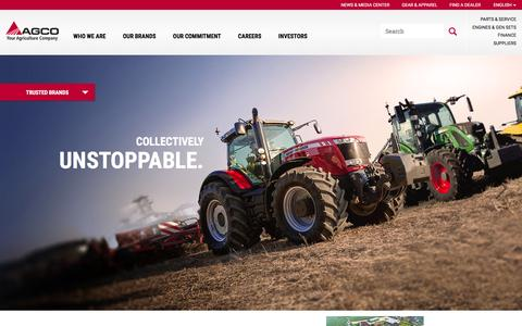 Screenshot of Home Page agcocorp.com - AGCO: Challenger, Fendt, GSI, Massey Ferguson, Valtra Farm Equipment - captured Jan. 22, 2016