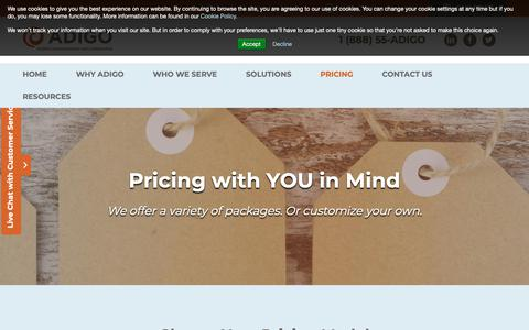 Screenshot of Pricing Page adigo.com - Conferencing Pricing Packages | Adigo - captured Nov. 6, 2018