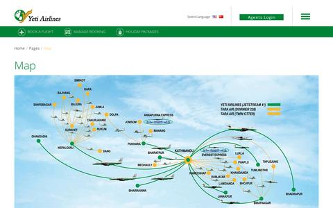 Screenshot of Maps & Directions Page yetiairlines.com - Welcome to Yeti Airlines-Map - captured Nov. 21, 2016