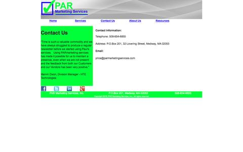 Screenshot of Contact Page parmarketingservices.com - Find out how PAR Marketing Services can help - captured Oct. 5, 2016