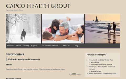 Screenshot of Testimonials Page wordpress.com - Testimonials – CAPCO HEALTH GROUP - captured July 11, 2017